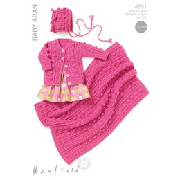 Round Neck Cardigan, Bonnet & Blanket Hayfield Baby Aran - 4531