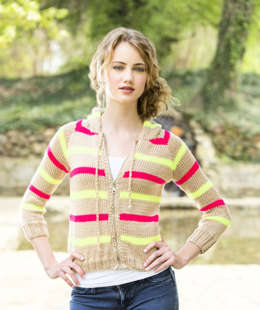 Neon Striped Hoodie in Universal Yarn Uptown Worsted