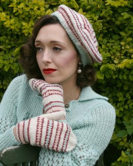 Fair Isle is Fashionable Beret and Mitts in Susan Crawford Excelana 4 Ply