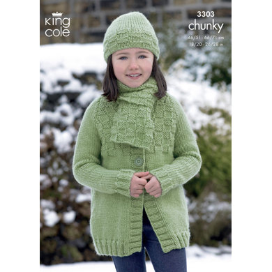 Long and Short Jackets, Hat and Scarf in King Cole Comfort Chunky - 3303