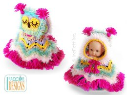Fiesta Owl Doll Poncho with Hood