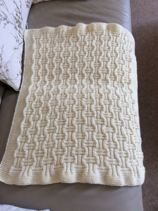 Double Basket Weave Baby Blanket Knitting Project By Pam M