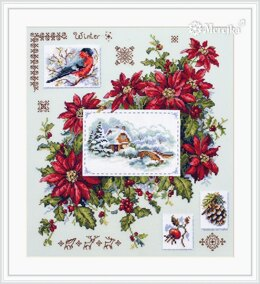 Merejka Winter Sampler Cross Stitch Kit - 30cm x 32cm