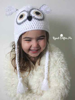 Snowy Owl Crochet Hat in Caron Simply Soft - Downloadable PDF