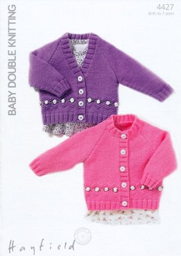 Cardigans with Flower Detail in Hayfield Baby DK - 4427