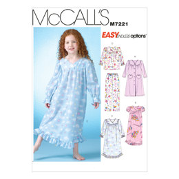 McCall's Children's/Girls' Robe, Gowns, Top and Pants M7221 - Sewing Pattern