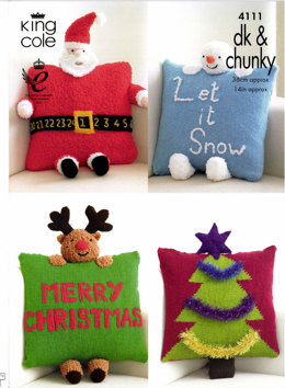 Christmas Novelty Cushions in King Cole Cuddles Chunky and Big Value DK - 4111