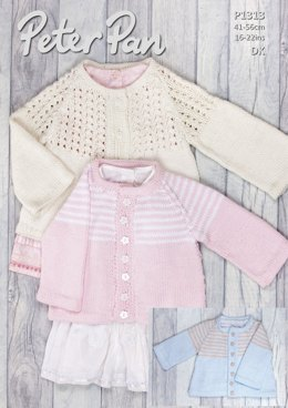Jacket with Lace or Striped Yoke in Peter Pan Baby Cotton DK - P1313 - Downloadable PDF