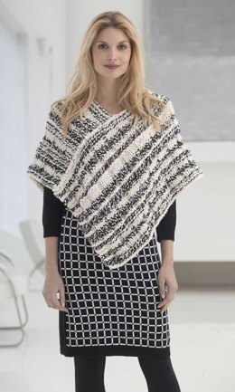 Newsprint Poncho in Lion Brand Wool-Ease Thick & Quick - L32425