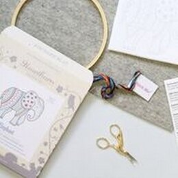 Hawthorn Handmade Elephant Contemporary Embroidery Kit - 14 x 12.5cm