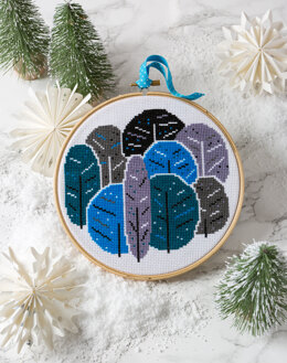 Hawthorn Handmade Winter Trees Cross Stitch Kit - 16cm in diameter