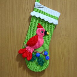 Red Bird Christmas Stocking