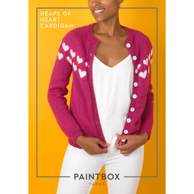Heaps of Heart Cardigan : Cardigan Knitting Pattern for Women in Paintbox Yarns Aran Yarn