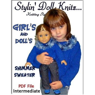 Matching Girls and dolls sweaters. Ages 4-10 and 18 inch doll (American Girl) 541