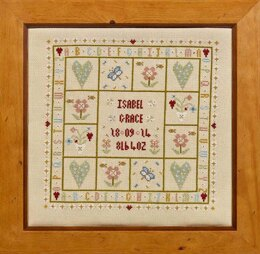 Historical Sampler Company Four Hearts Birth Sampler Cross Stitch Kit
