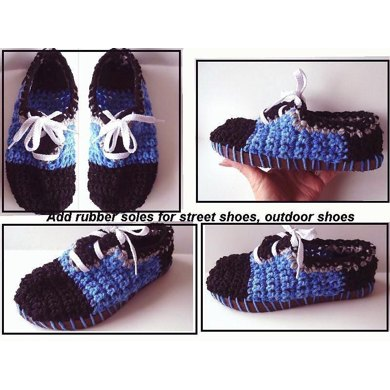 551 Crochet slipper/shoe, Blue lace-up shoe