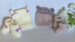 Fuzzy Feet Booties And Matching Hat