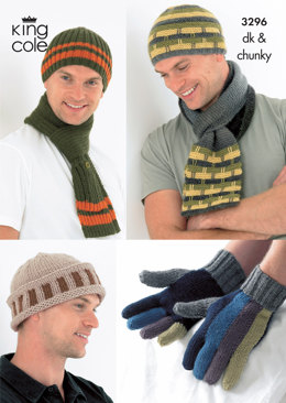 Mens Hats, Scarves and Gloves in King Cole DK and King Cole Chunky - 3296