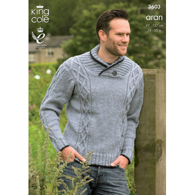 Sweater and Gilet in King Cole Big Value Aran - 3603