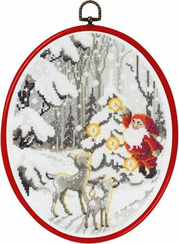 Permin Elf in the Forest Christmas Cross Stitch Kit (with hoop) - 20cm x 26cm