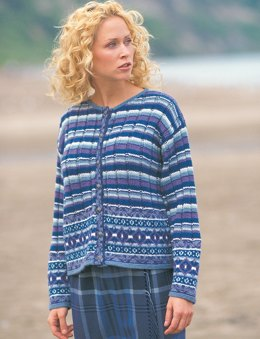 Fair Isle Plaid Cardigan in Patons Astra