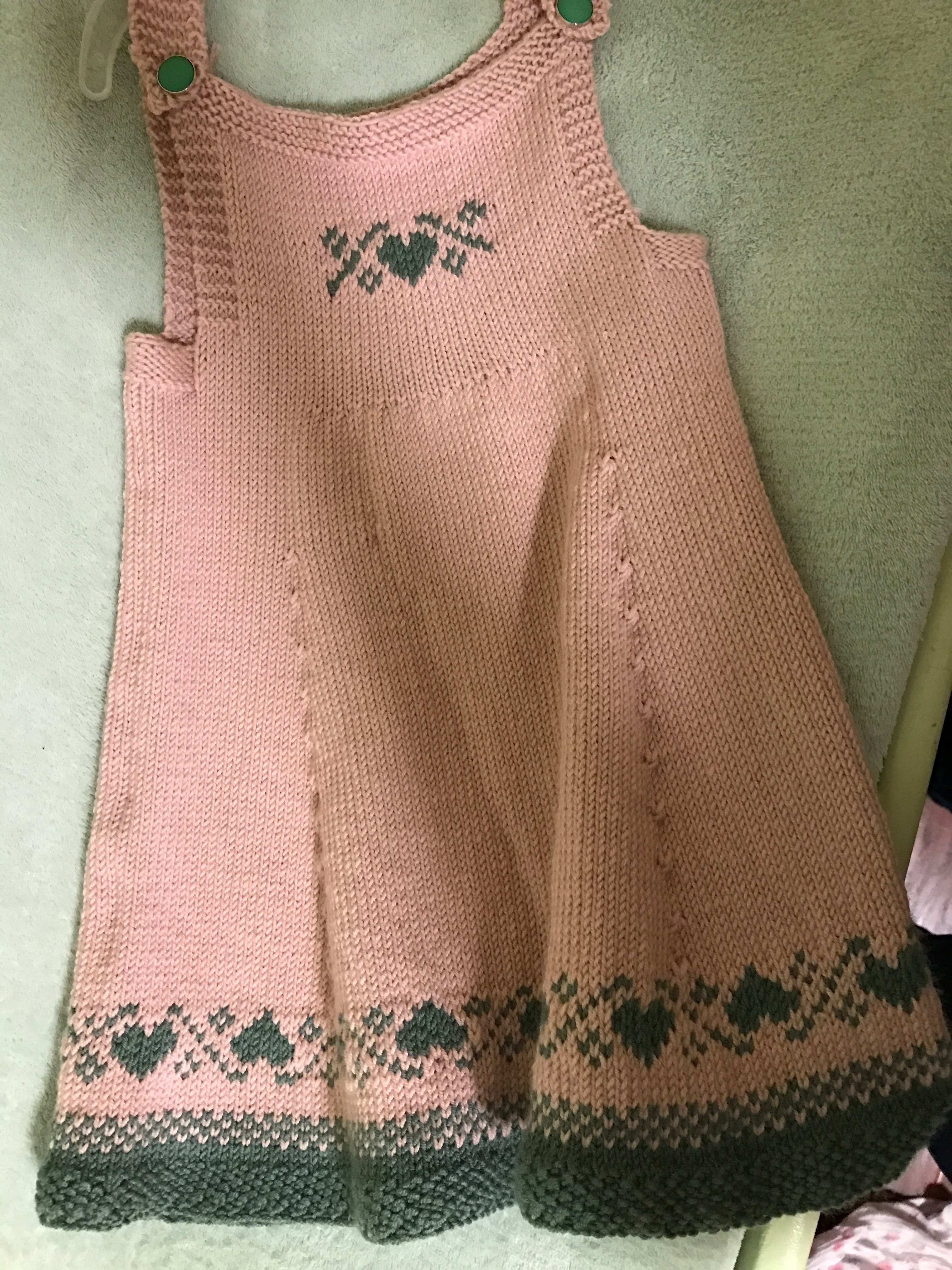 ba0ca945ad18 Maddie s Love U Forever pinafore knitting project by Denise B ...