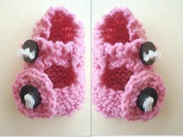 339, KNIT FLAT MARY JANE BOOTIES/SLIPPERS