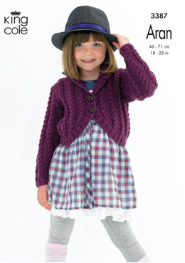 753613a38c4ae1 Cabled Cardigans in King Cole Fashion Aran - 3387