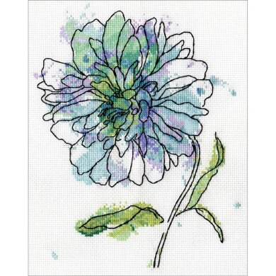 Design Works Blue Floral Counted Cross Stitch Kit - 5in x 7in