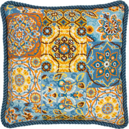 Dimensions Patterns on Blue Tapestry Kit - 35.5 x 35.5 cm