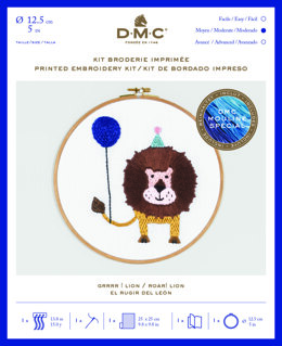 "DMC Roar! Lion (printed fabric, 5"" hoop) Embroidery Kit - 25cm x 25cm - TB123"