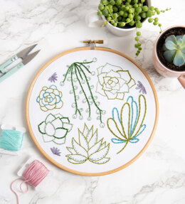Hawthorn Handmade Succulents Contemporary Embroidery Kit - 16cm