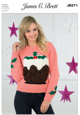 d92d22c1eac840 Ladies Christmas Pudding Sweater in James C. Brett Top Value DK - JB271