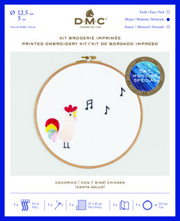 "DMC Sing! Chicken (printed fabric, 5"" hoop) Embroidery Kit - 25cm x 25cm - TB122"