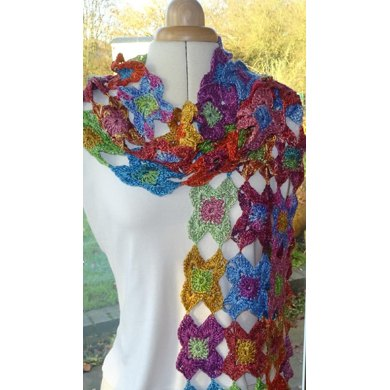 Starflower crochet scarf