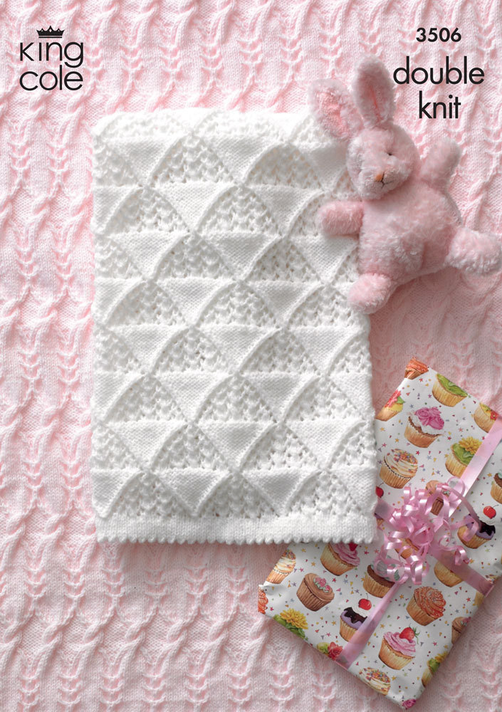 Free Knitting Pattern For Baby Comfort Blanket : Baby Blankets in King Cole DK - 3506