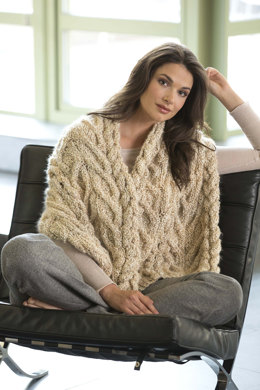 Modern Cable Shawl in Lion Brand Homespun - L32038