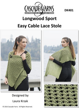 Easy Cable Lace Stole in Cascade Longwood Sport - DK401 - Downloadable PDF