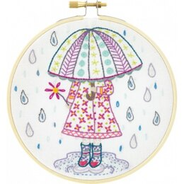 Un Chat Dans L'Aiguille Emilie Loves the Rain Embroidery Kit