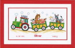 Vervaco Tractor Birth Sampler Cross Stitch Kit - 36cm x 19cm
