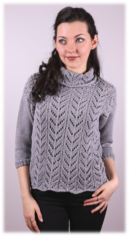 Womens Lace Pullover in Plymouth Yarn Cashmere De Cotone - 3009 - Downloadable PDF