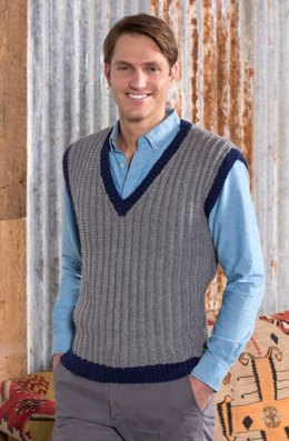 Man's Seeded Rib Vest in Red Heart Soft Solids - LW4271