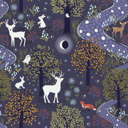 Lewis & Irene Nighttime in Bluebell Wood  - Glow in the woods midnight blue