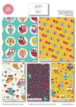 Craft Cotton Company Happy Owls Fat Quarter Bundle
