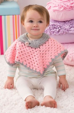 Sweet Baby Poncho in Red Heart Soft Baby Steps Solids - LW4138