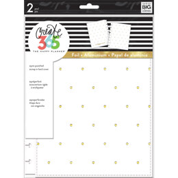 """Me & My Big Ideas Happy Planner Medium Snap-In Hard Planner Cover 9.75""""X7.75"""" - White W/Gold Dots"""