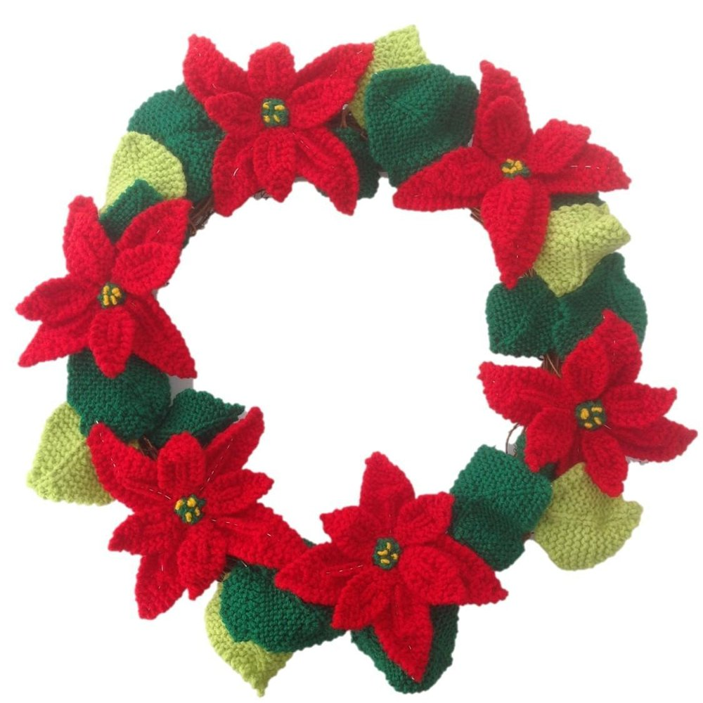poinsettia christmas wreath knitting pattern by iknitdesigns