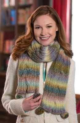 Reversible Cable Scarf  in Red Heart Boutique Treasure - LW4278