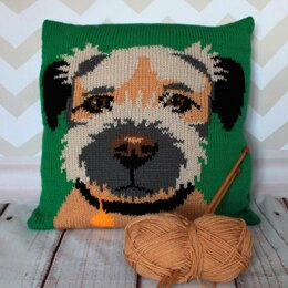 Border Terrier Pet Portrait Cushion Cover Knitting Pattern
