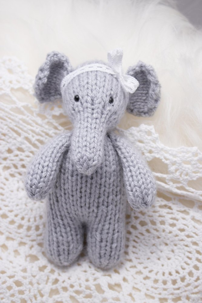 Enid Elephant Knitting pattern by Pretty Little Sheep